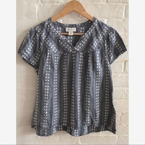 Style & Co floral short sleeve baby doll blouse